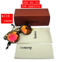 Рг с чехол горячая illesteva солнцезащитных очков женщин бренд дизайнер старинные очки лето очки illesteva леонард солнцезащитные очки