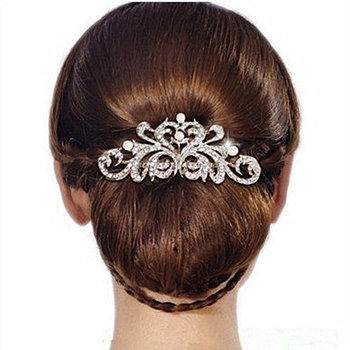 New Design Pearl Bridal Hair Jewelry Charm Silver Plated Crystal Hair Combs Hairpin Wedding Hair Accessories For Women XLL123