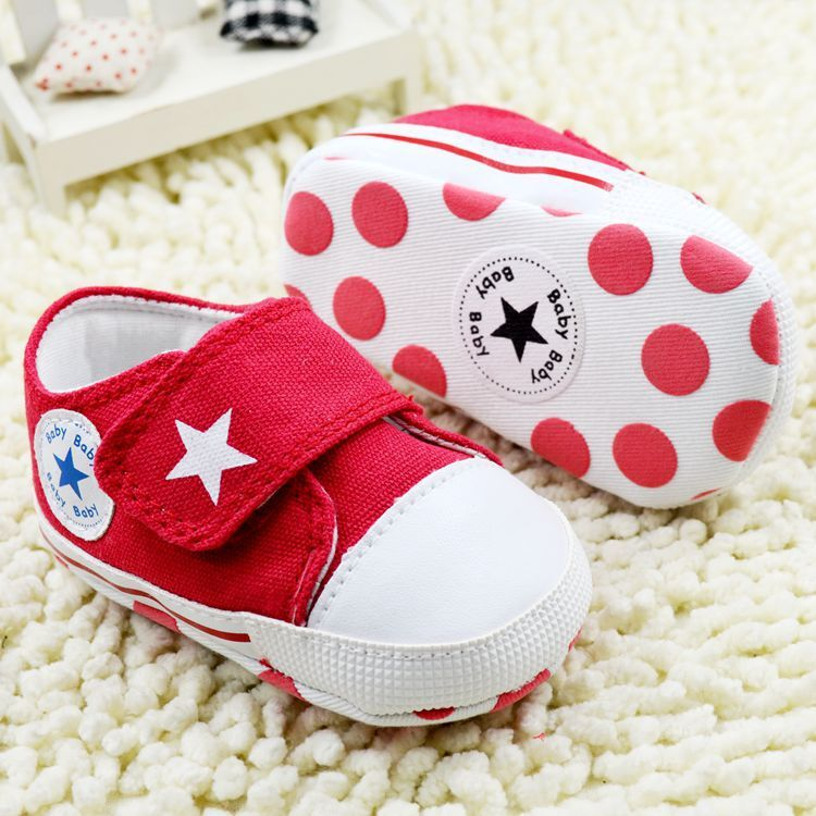 2015 new 0-1 years baby shoes canvas toddler red dot zapatillas bebe soft sapatos non-slip star fashion Children sneakers(China (Mainland))