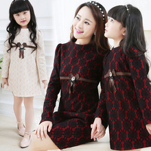 Family Fashion Clothes Lace Dress for Mother and Girl/Daughter Women & Girls Dress Fashion Spring/Autumn (Black, Beige) FL525