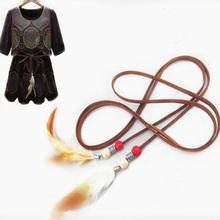 Waist Belt For Women Female Girl Wild Fashion Wooden Beads Feather Tassel Waistband Rope Ladies Belt Ultrafine 8z-AA073(China (Mainland))