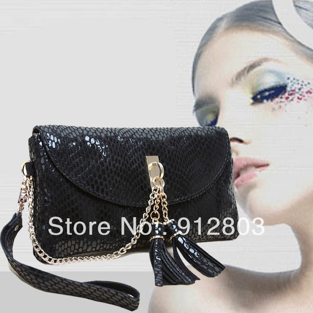 [ANYTIME] Factory Wholesale - Genuine Leather Serpentine Day Clutch Women's Candy Shoulder Handbag Messenger Bag - Free Shipping