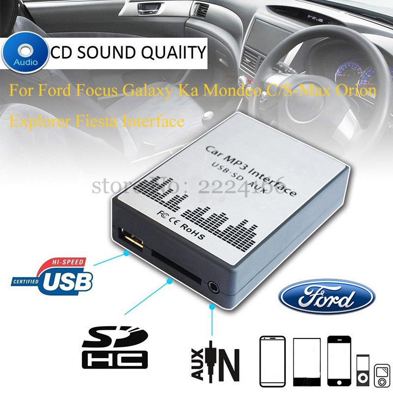 USB SD AUX car MP3 music player Adapte for Ford Focus Galaxy Ka Mondeo S/C-Max Orion Explorer Interface,car kit car-styling(China (Mainland))