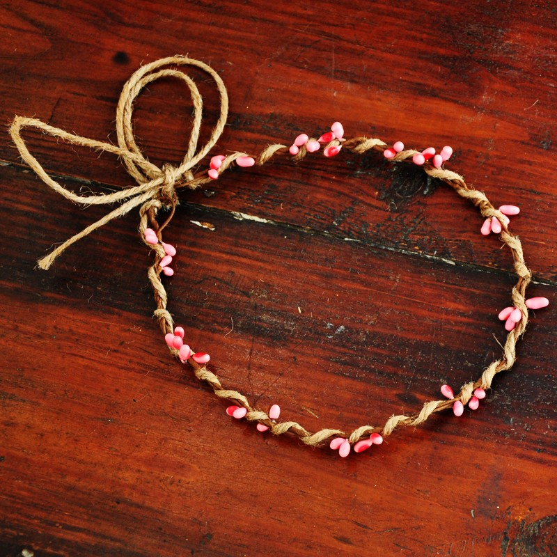 10 PCS Handmade Rustic Dainty Pink Pip Berries Twine Wreath Flower Crown  Festivals Feminine Whimsical Fresh Cute Christmas Gift - us733 046faebe900