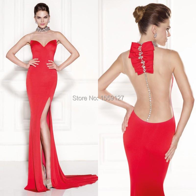 Привлекательный Платье De Novia 2017 Tarikediz Популярные Красный Оболочка Пром Платья С Боковыми Сплит Sexy Особых Поводов Заказ FE0287