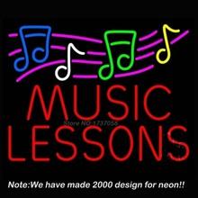 New Hot Music Lessons With Logo Neon Sign Neon Bulbs Recreation Room Custom LOGO Gift Real Glass Tube Handcraft Custom Beer Pub(China (Mainland))