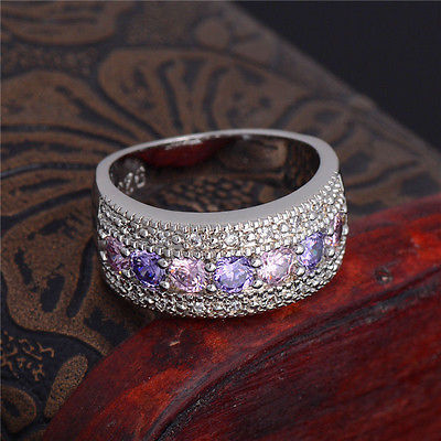 Free Shipping Exquisite Women Jewelry Round Cut Pink&White Sapphire Band Silver Band Ring Size 6 7 8 9 female Aneis anillos(China (Mainland))