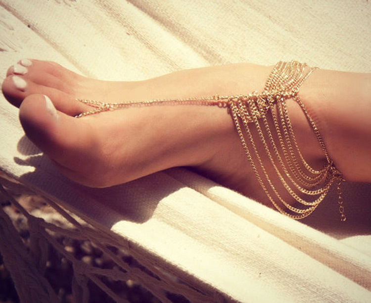2015 Hot sales*New Beach Fashion Multi Tassel Toe Bracelet Chain Link Foot Jewelry Anklet Free Shipping G-01(China (Mainland))