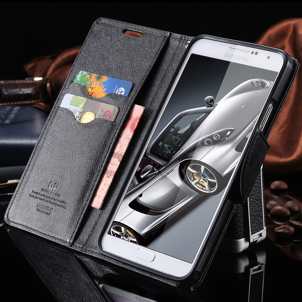 Note 3 / 5 New Fashion Luxury With Logo Flip Case For Samsung Galaxy Note 3 N9000 / Note 5 Leather Stand Card Slot Cover Wallet(China (Mainland))