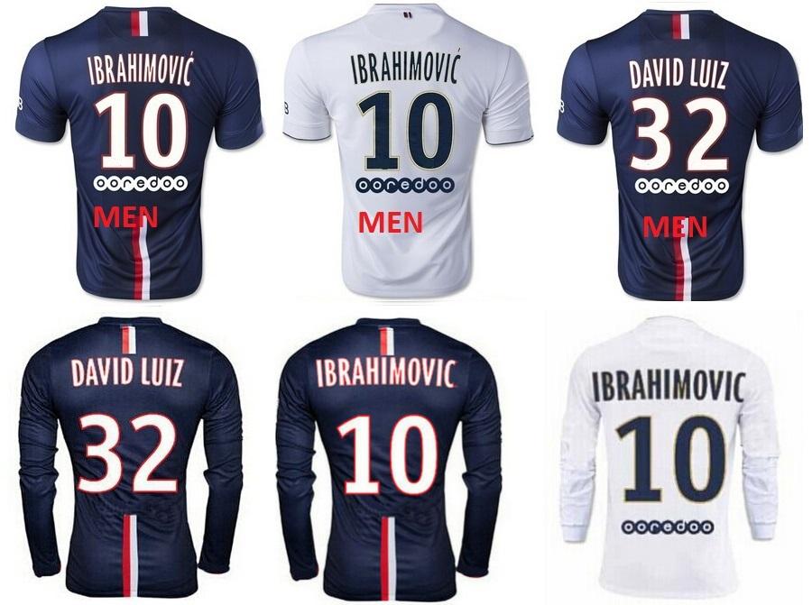 14 15 IBRAHIMOVIC DAVID LUIZ CAVANI T SILVA LUCAS Long sleeve Football Shirts 2015 HOME AWAY Short sleeve Soccer Jersey(China (Mainland))