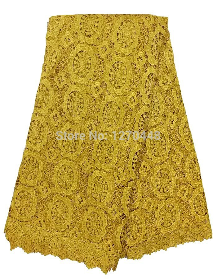 (5 yards/many) rapid transportation of high quality African network water-soluble lace fabric, textile lace skirt, yellow(China (Mainland))