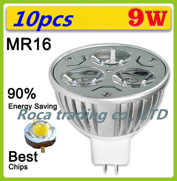 10pcs/lot Dimmable MR16 3X3W 9W Led Lamp Spotlight Led Light Downlight 12V Free shipping(China (Mainland))
