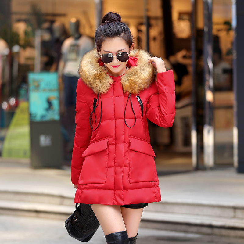 2015 Thick Winter Jacket Women Desigual Fur Collar Parka Manteau Femme Long Hooded Whiter Duck Coats Coat
