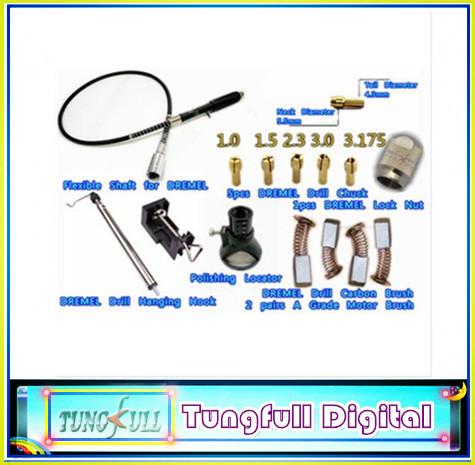 DREMEL Drill Lock Nut,4pcs A carbon brush,5pcs Copper chuck,Flexible Shaft pen,Electric drill hook,Polish Locator(China (Mainland))