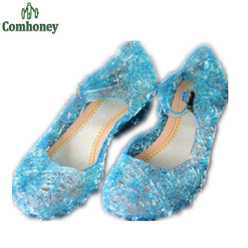 Rubber Crystal Girls High Heel Sandals Snow Queen Children Elsa Shoes Slipper Dream Princess Toddler Girls Summer Jelly Shoes(China (Mainland))
