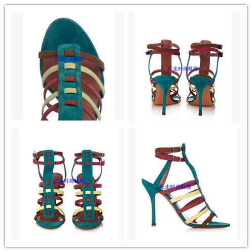 Фотография Summer style New Collection High Heels Spiked Pigalle Lining Sandals suede Leather Booties Patchwork Shoes Woman Gladiator