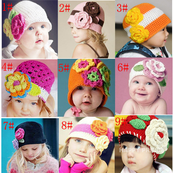 Retail Children Baby Crochet Knitted Flower Hat Beanies Infant Spring Autumn Knitted Beanies Caps  1pc free shipping MZS-15061