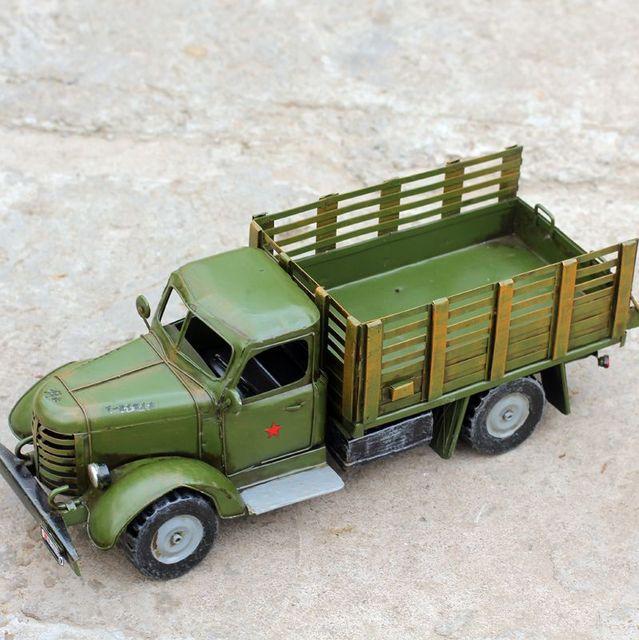 "16"" Home Decoration Art Collection Truck Model Metal Car Models Vintage Iron Crafts Boy Gift"