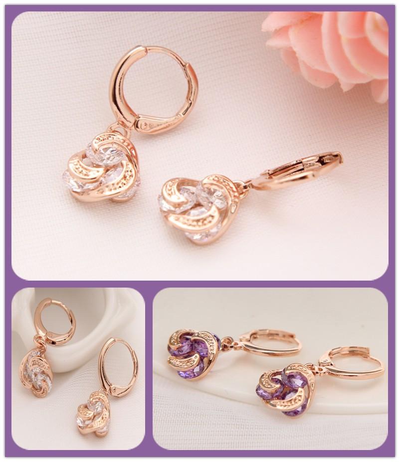 Fashion Jewelry Gold Plated Crystal Earrings White/Purple Zircon Cross Heart Drop Earrings For Women(China (Mainland))