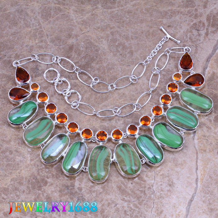 Stunning Green Dichroic Glass 925 Sterling Silver Overlay High Quality Grade Fashion Jewelry Necklace L561(China (Mainland))