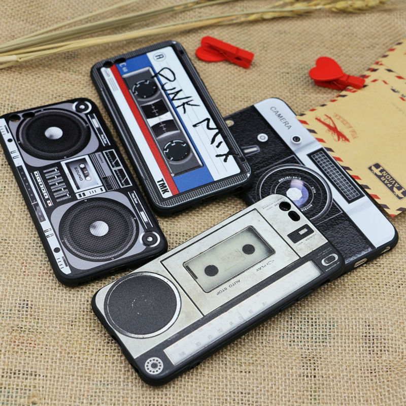 For iPhone 5S 6S 6Plus Case Cover Retro Camera Cassette Tapes Player Rock Music Boombox Hollywood Action Calculator Keyboard