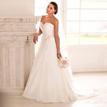 2016 In Stock Wedding Dresses Vestido de Noiva Casamento Robe De Mariage Sweetheart Chiffon Plus Size Beach Wedding Gown