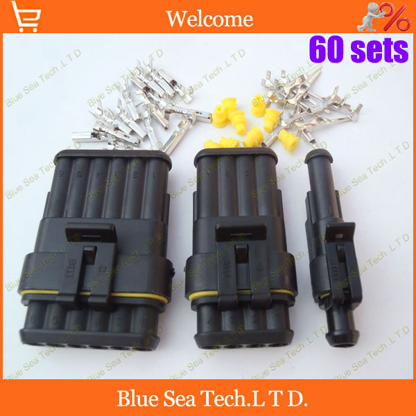 Free Shipping 60 sets 1/4/6 Pin/way HID Waterproof Electrical connector plug kits,3 in 1 male&amp;female kits for car boat ect.<br><br>Aliexpress
