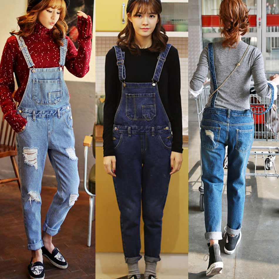 Images of Women Denim Jumpsuit - Reikian
