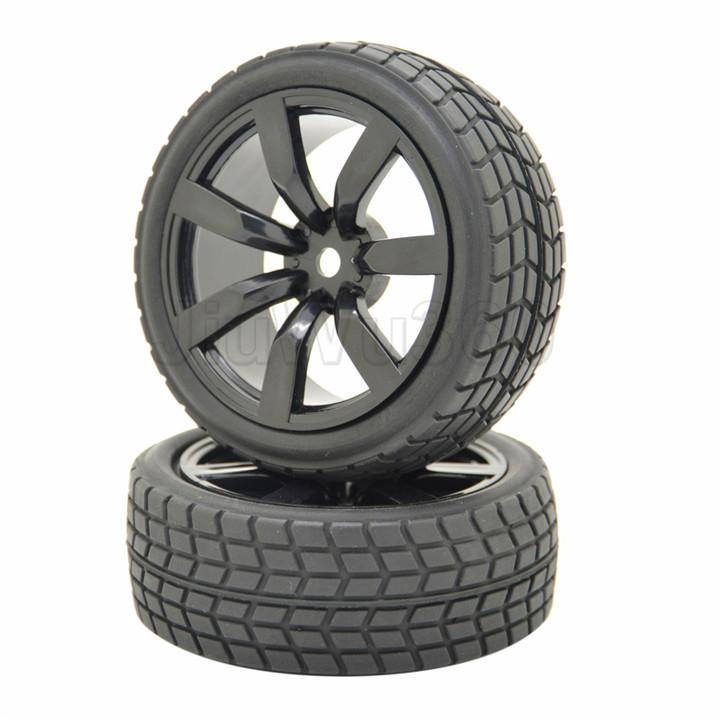 4PCS Off-Road Buggy 12MM Hex Wheel Rims 7 Spoke Tires Foam Inserted Black