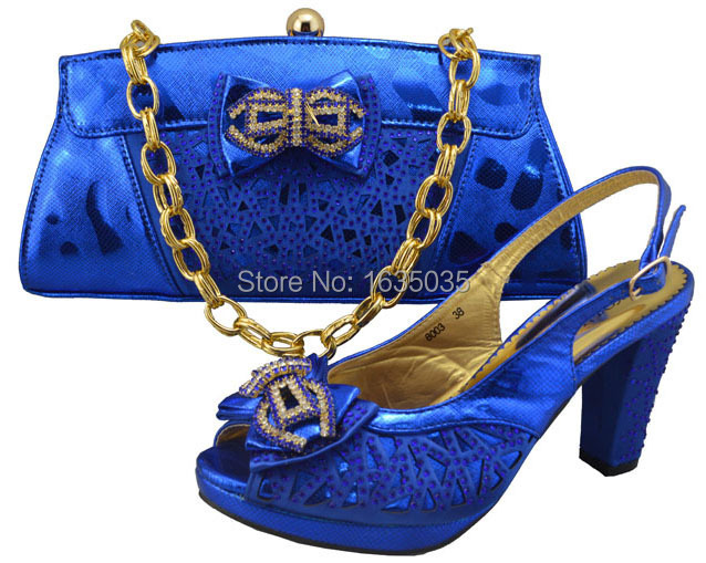Italian design shoe and bag to match with free shipping,Royal blue color fashion shinning stones,GF8003 blue color 38-42(China (Mainland))