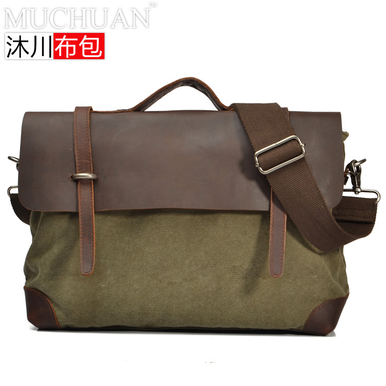 Elegant cowhide&canvas patchwork men handbags,messenger bags 2167  -  MENS FASHION store