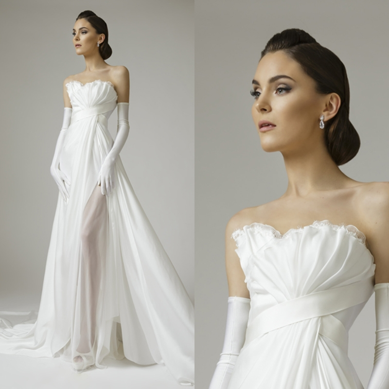 Graceful a line scalloped sheer white pleats chiffon for Fitted wedding dresses for plus size