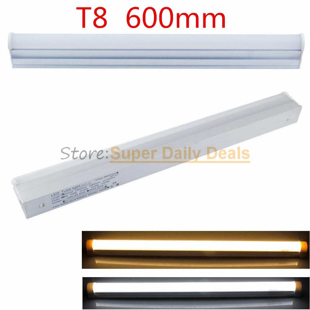 10pic/lot T8 neon LED fluorescent Tube Light Lampada 60cm Integrated 0.6m 600mm Lamp AC110V220V240V Warm/Cold/Natural White(China (Mainland))