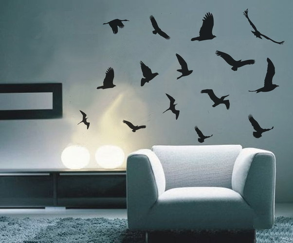 Vinyl wall decals wall stickers 15 black flying birds(China (Mainland))