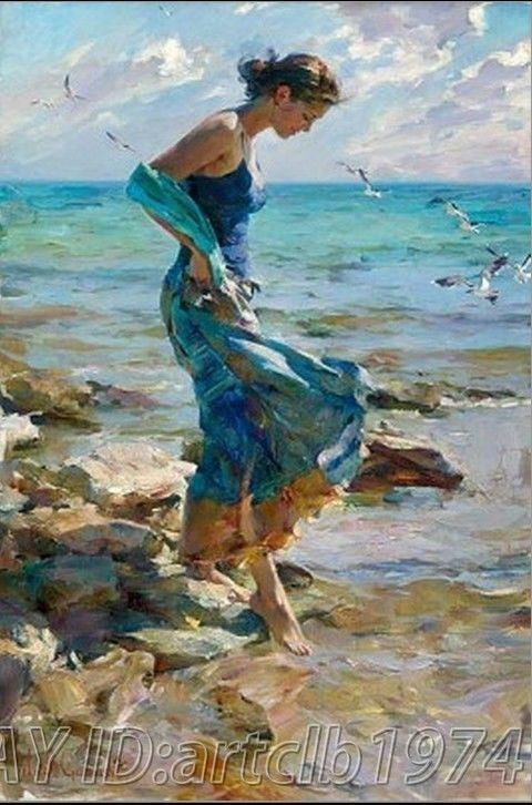 store product High quality Handicraft Modern Oil Painting on Canvas Blue dress woman beach