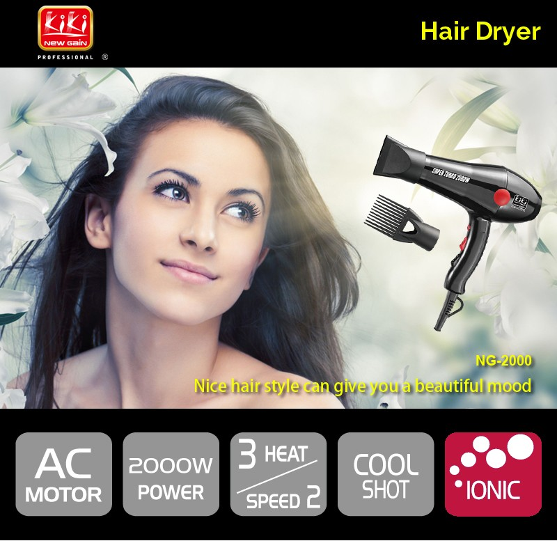 KIKI.Professional AC motor Hair Dryer.2000W.Super Turbo.Hot sale.PA housing.styling tools.hair drier