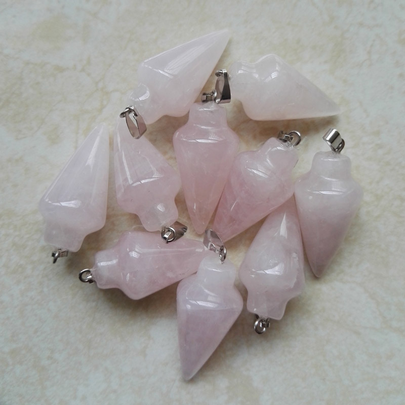 Rose Quartz natural stone pendant pendulum circular Cone Tapered Stone charms pendant for jewelry making 12pcs/lot free Shipping(China (Mainland))