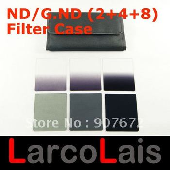 6pcs Gradual Grey Neutral Density Filter + Full ND2 ND4 ND8 Colour Filter with 6 Pocket Case for Cokin