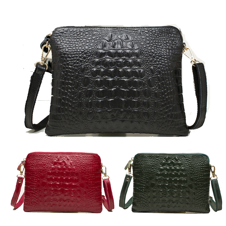 2015 Limited Direct Selling Unisex Handbag Factory Wholesale Leather Handbag Small Bag Shoulder Inclined Ku New Croc Hand Clutch(China (Mainland))