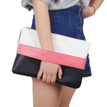 Fashion Women Handbag Solid Patchwork Lady Day Clutches New Fashion Soft Girl Zipper Packet Fashion Brief Female Casual Bags