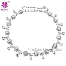 Luxury Rhinestone Belt Female Silver & Colorful Designer Belts Skinny Metal Waist Chain Belt Links Wedding Accessories BL-806