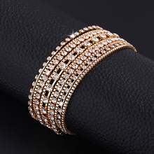 New hot Fashion Luxury Charm Plating Gold Silver Wide chain Crystal Bracelet High quality Rhinestone jewelry for women 2015 PD26(China (Mainland))