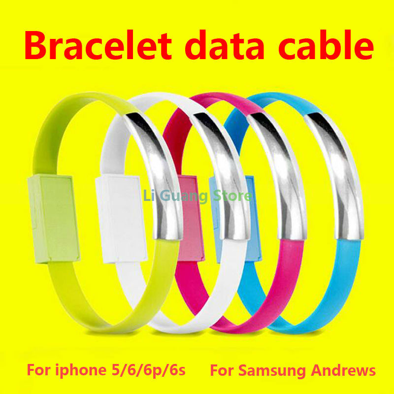 2016New Arrival Bracelet Mobile Phone Cable Micro USB 2.0 Data Sync Charger Wrist Bracelet Shape Cable for Iphone Samsung HTC LG(China (Mainland))