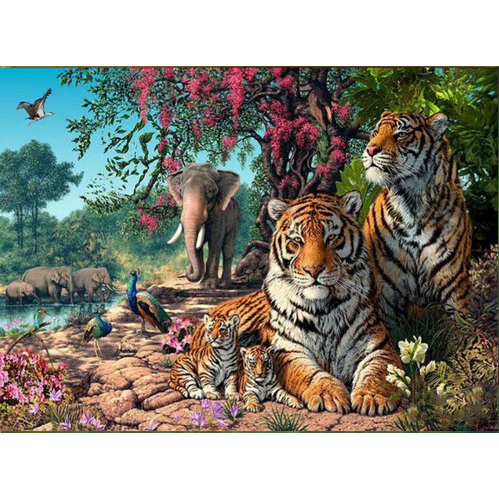 New 3D DIY Diamond Embroidery Animals Tiger Mosaic Pictures sets for embroidery Home Wall Decoration Easy Handmade Cross-Stitch(China (Mainland))