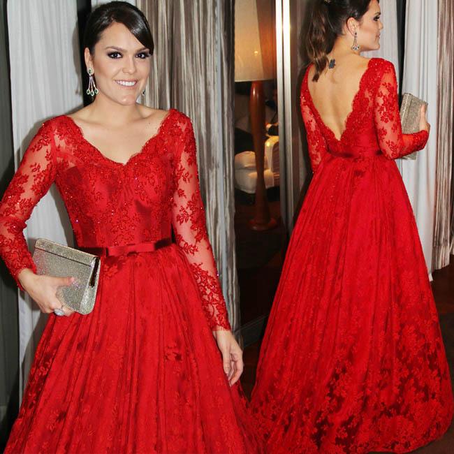 robe de festa longo com renda rouge dentelle robe de soir e longue robe de bal robes de soir e. Black Bedroom Furniture Sets. Home Design Ideas