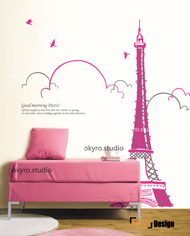 La Tour Eiffel TOWER Wall Decal Eiffel TOWER Wall Stickers Frence wall decal girl nursery wall decals--Morning Of PARIS(China (Mainland))