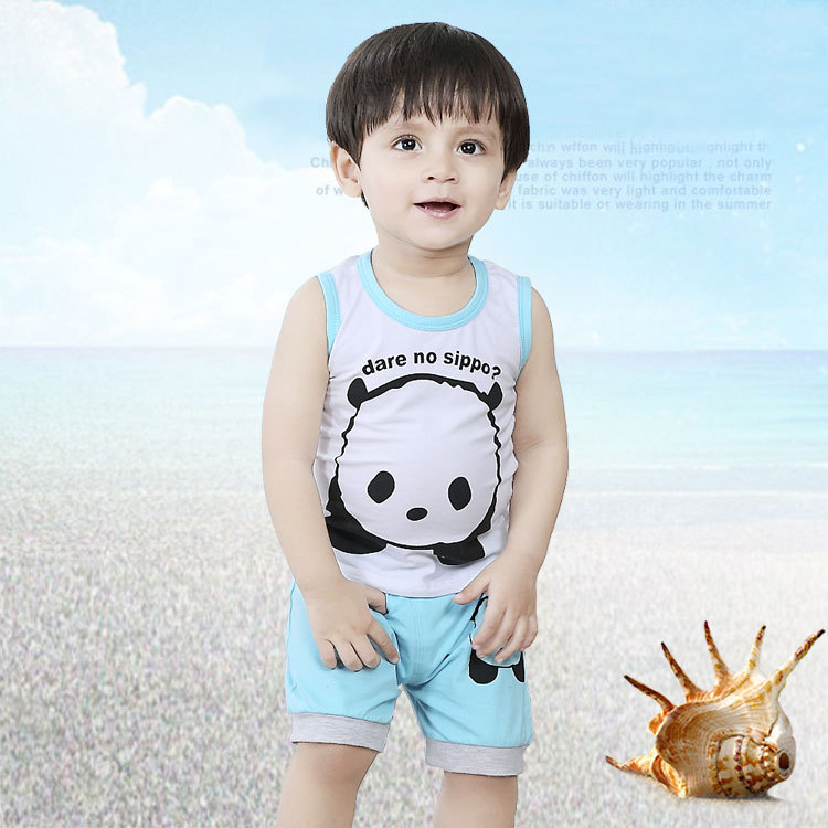 2015 new fashion baby boy summer cute Panda Vest suit baby boy clothes for newborn baby boys hot sale wholesale(China (Mainland))
