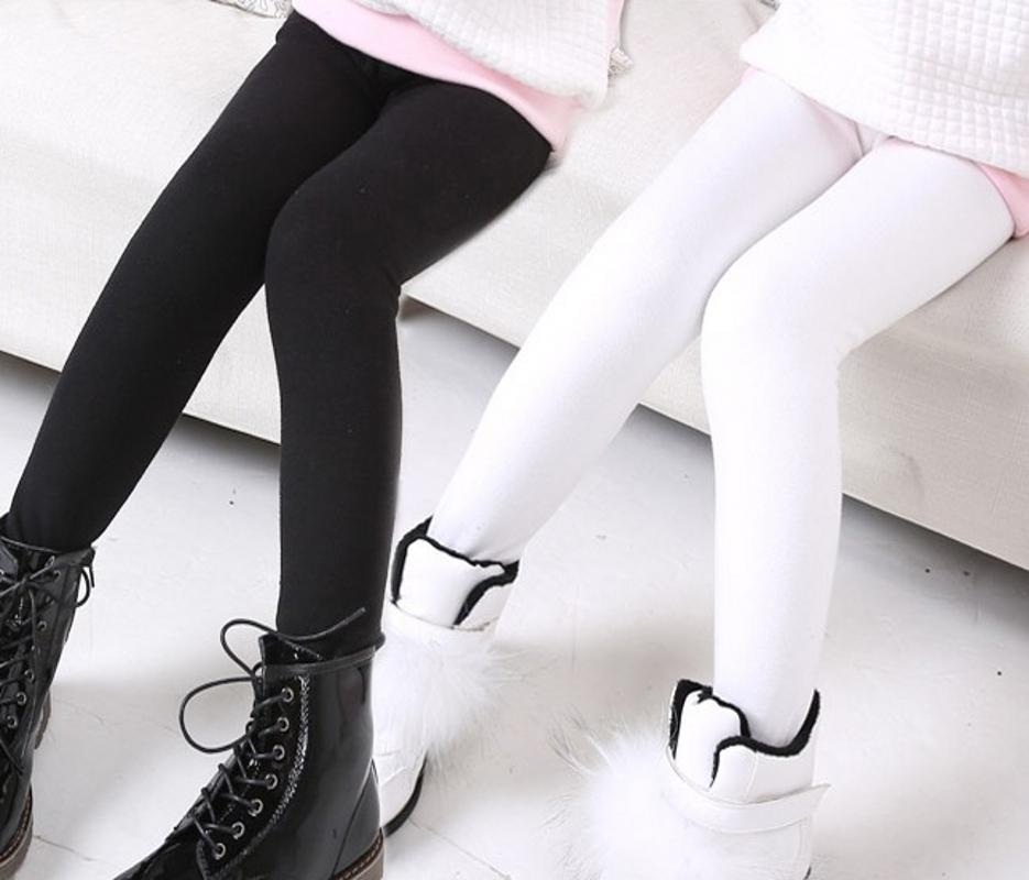 Black White White Girls pencil pants Winter Girl Fur Skinny leggings Children Kids Girls warm trousers(China (Mainland))