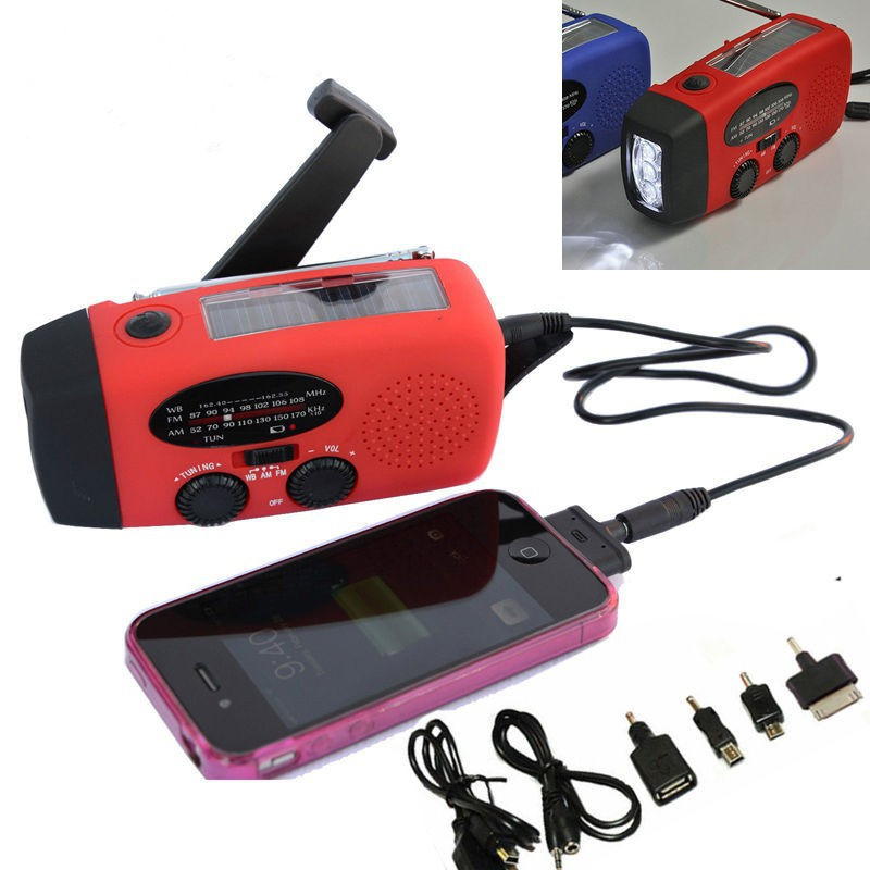 Free Shipping Solar Powered AM/FM Radio with Hand Crank 3 LED Flashlight Phone Charger(China (Mainland))