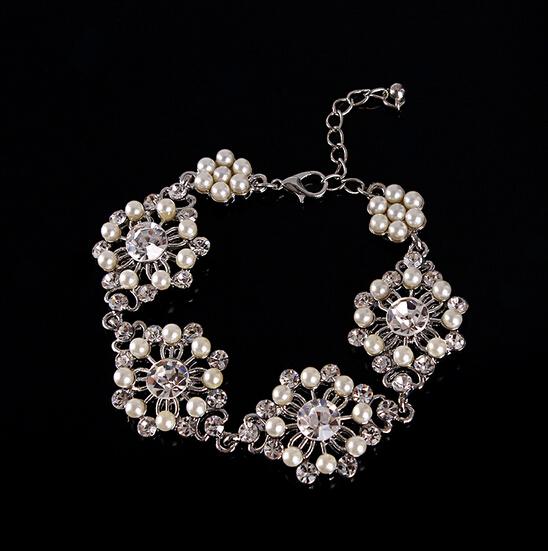 Bridal Flower Bracelet : Free shipping fashion wedding bridal crystal flower
